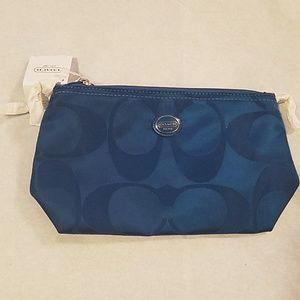 Coach blue makeup bag